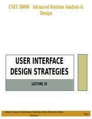 LEC 20 - Pres - User Interface Design Strategies.ppt