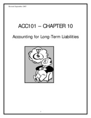 "ACC101 â€"" CHAPTER 10 Accounting for Long-Term Liabilities"
