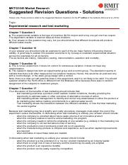 MKTG1045 Suggested Revision Solutions - Experimental research and test marketing(1)