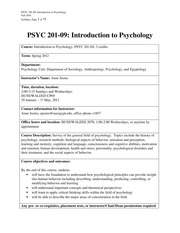 PSYC 201-09 Syllabus, Spring 2012, revised with new calendar due to elections