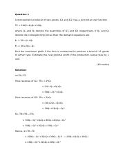 Assignment Maths Eco Question 1