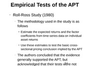 Empirical Tests of the APT