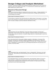 ENC 3211 Lakindra Malone Design Critique and Analysis Worksheet ...
