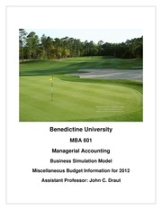 MBA 601 BSM Miscellaneous Budget Information 2012