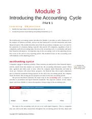 Module 3 -Introducing the Accounting Cycle - Part 1