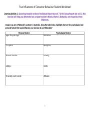 MKTG1001 - Week 2 - LA - Four Influencers of CB Student Worksheet (2)