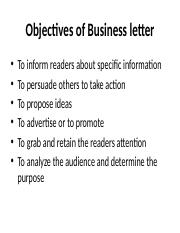 Objectives of Business letter