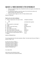 QUIZ 1 Mechanics to energy