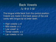 Chapter 12 Back Vowels