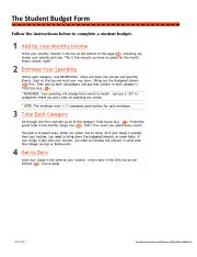 Student Budget Form The Student Budget Form Follow The