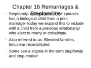 Chapter 16 Remarriages & Stepfamilies