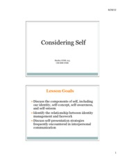 Lecture 2 & 3 - Considering Self