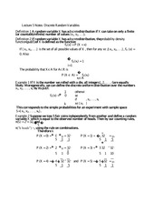 Lecture 5 Notes Discrete Random Variables