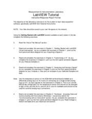 LabVIEW Tutorial Lab