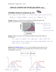 MATH1020-Application of Integral - Probability