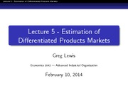 EC 1642 Spring 2014 Lecture 5 - Differentiated Products Estimation