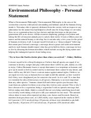 Environment philsophy - personal statement