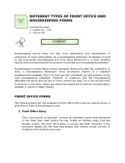 Lo1 2 1 Different Types Of Front Office And Housekeeping Forms Docx Information Sheet 1 2 1 Different Types Of Front Office And Housekeeping Forms Course Hero