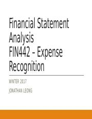 Winter 2017 FIN442, Lecture 6 - Expense Recognition & Pension