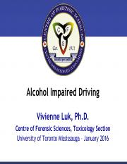 Alcohol Impaired Driving Lecture - January 14th (Vivienne Luk)