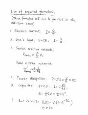 Required Formula - Midterm