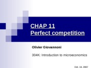 CHAP 11 - Perfect competition