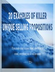 Reading 2.3 - 20 unique selling propositions