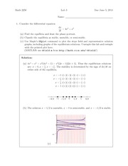 Lab 3 Solution Summer 2014 on Differential Equations and Linear Algebra