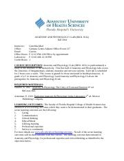 Syllabus Fall 2014- Anatomy and Physiology I Lab