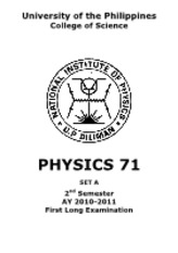 Physics 71 1st LE AY1011 2nd Sem