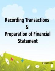 3 - Recording Transactions & Preparation of Fin Stmt