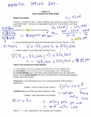 linear functions and math models notes
