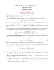 Homework 2 on Quantum Field Theory I
