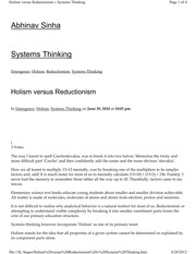 reductionism vs holism essay Holism vs reductionism research paper this research paper will compare and contrast holism (systems thinking) versus reductionism the paper will be.