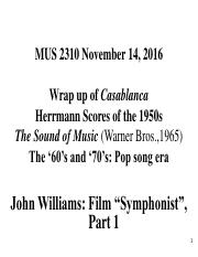 MUS 2310 November 14 2016 - Vertigo, Psycho, The Sound of Music and John Williams part 1 -course not