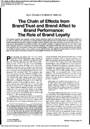 Chaudhuri (2001) Chain of Effects from Brand Trust