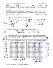 Test Solution on Simplifying Exponents, Graphing Equations