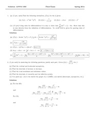 APPM 1345 Final Exam Solutions
