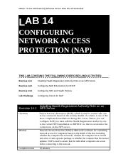 Lab Worksheet Lesson 14 Configuring Network Access Protection