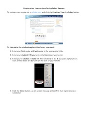 Registration Instructions for iClicker Remote