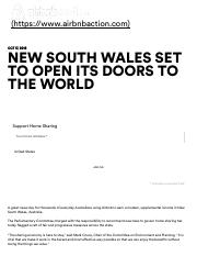 Airbnb Action New South Wales set to open its doors to the world - Airbnb Action