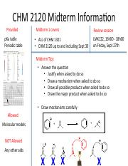 CHM 2120 Midterm information