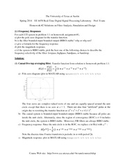 Homework 2 Solution on Filter Analysis, Simulation and Design