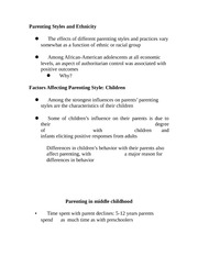 Parenting Styles and Ethnicity notes