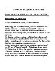 ASTRONOMY Notes - Basics and Brief History of Astronomy (Fall 2016)