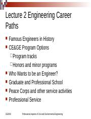Lecture 2 CE 2090 Educational Career Paths in Engineering