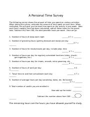 A Personal Time Survey