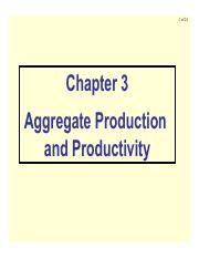 Ch3 Aggregate Production and Productivity