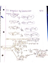 5.2 Integration by Substitution Notes