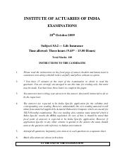 (www.entrance-exam.net)-Institute of Actuaries of India-Subject SA2- Life Insurance Sample Paper 9.p